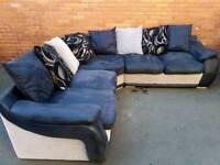 Grey/Black Suede Corner Sofa.Delivery Available