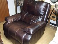 Large distressed real leather rocking recliner chair