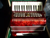 beautiful red vintage parrot accordian with original case,perfect excellent condition,stanmore,middx