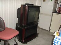 Vintage Mahogany Phillips T.V with set top box/ remotes
