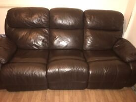 Chocolate brown leather recliner 2 and 3 seater sofa