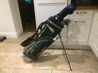 Golf clubs - Driver, 3 Wood, Irons (3 Iron to Sand Wedge) Putter, Bag, Glove, Balls & tees.