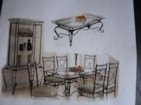 DINING TABLE, 6 CHAIRS, COFFEE TABLE & WALL UNIT