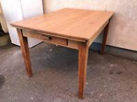 Vintage pine dining table with drawer
