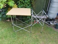 Folding camping kitchen table with an area for a cooker