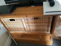 Pine sideboard/tv stand with storage baskets