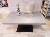 Shabby Chic Coffee Table with Grey Top and Metal Base