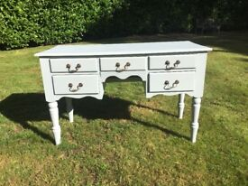 Hand Painted Solid Pine Dressing Table / Desk in Grey