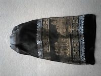 Brand New With Tags Beautiful Gold and Silver Design Black Scarf