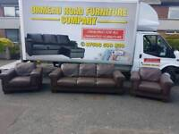 3+1+1 brown leather sofa (creations)