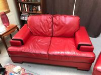 Red Leather Sofa, very good condition £200 ONO
