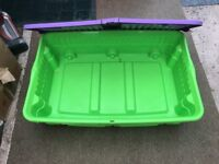 THREE Storage boxes - ideal for under bed storage - on wheels for easy access - top opening