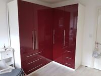 Red/ Burgandy B&Q Corner Wardrobe Set ( 3 Wardrobes) V.G.C.