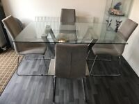 Glass dining table, 6 chairs and console
