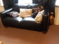 Black Leather 2 Seater + 3 Seater Sofa Settee.