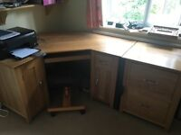 Solid oak corner desk and filing drawer