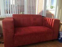 Red Fabric 2 Seater Sofa £25