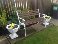 Restored Art Deco style garden bench with hardwood straps
