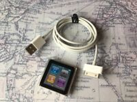 Apple iPod Nano 6th Generation Silver 8GB + UBS Cable Bundle