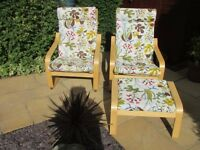 Ikea Poang conservatory chairs and footstool