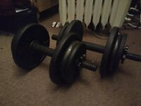 Iron Dumbbell / Free Weights with lots of extra plates