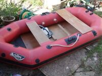 Old type rubber inflatable boat dinghy 2.4m