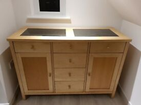 Solod wood sideboard with granite inserts