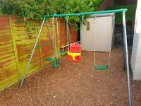 Swing & see-saw garden set with baby seat swing. Sand pit area and rocket. Job lot.