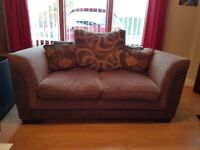 Brown high backed sofa with scatter cushions £200 ono