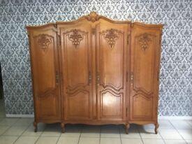 Wardrobe 4 door Oak Louis XV, French style