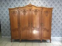 Wardrobe 4 door Oak Louis XV, French style
