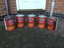 4x 5 Litres Of Fence Paint Golden Brown 9 Each Tin Can Deliver If Local