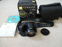 Nikon Coolpix Digital Camera - L320 - 16.1MP - 26x Zoom - Boxed, manual, memory card & carry case