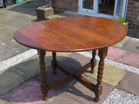 Solid wood, drop leaf, barley twist legs table