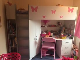 High Bed with desk, wardrobe and drawers