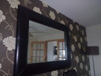 LARGE LEATHER LOOK MIRROR