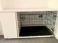 'Omlet' Fido Dog Crate in excellent condition with storage cabinet