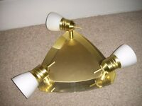 Brass Ceiling Light Fitting with Triple Spotlights
