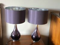 Next purple coloured table lamps in excellent condition