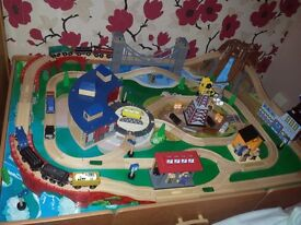 Large kids train track table.