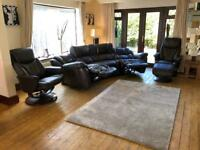 LAZYBOY® Augusta Brown Leather 4 Seater Curve Sofa With 2 X Electric Recliners RRP £3000