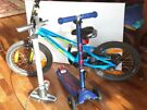 Bicycle and a scooter for 5-6 yr old with air pump
