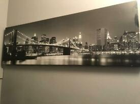New York City at Night LED Canvas + Chatsworth Mounted Frame - 12x8in for free