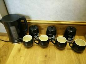 Kettle, Mugs and Storage Jars