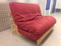 Futon Sofa Bed 2 Seater Double Sofabed + Removable Cover Thick Mattress Wood Base VGC (Can Deliver)