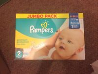Pampers New Baby Size 2 Nappies Jumbo Pack 72 Newborn Babies (Unopened box)