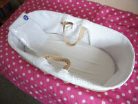 MOSES BASKET NEWBORN BABY PLUS ADDITIONAL BRAND NEW MATTRESS COVER NOT CAR SEAT