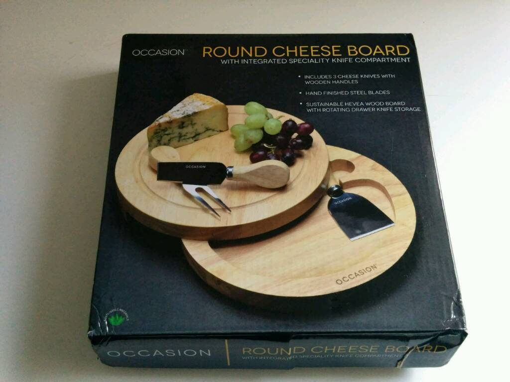 Brand new Occasion wooden cheeseboard gift with hidden compartment and cheese knives