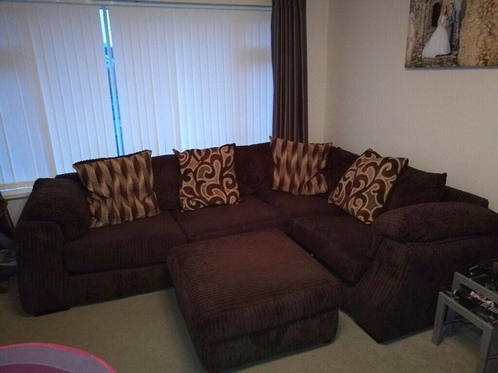 Scs Brown Fabric Corner Sofa And Foot Stool In