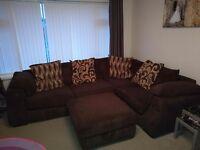 SCS Brown fabric corner sofa and foot stool